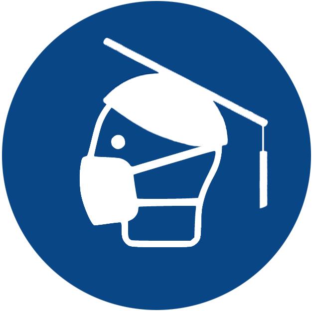 Hinweisgrafik zum Tragen einer Mund-Nasen-Bedeckung in Form eines Kopfes mit Maske, trägt einen Doktorhut