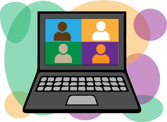 Illustration eines Laptops vor Farbklecksen mit vier bunten Kacheln, in denen Personen abgebildet sind