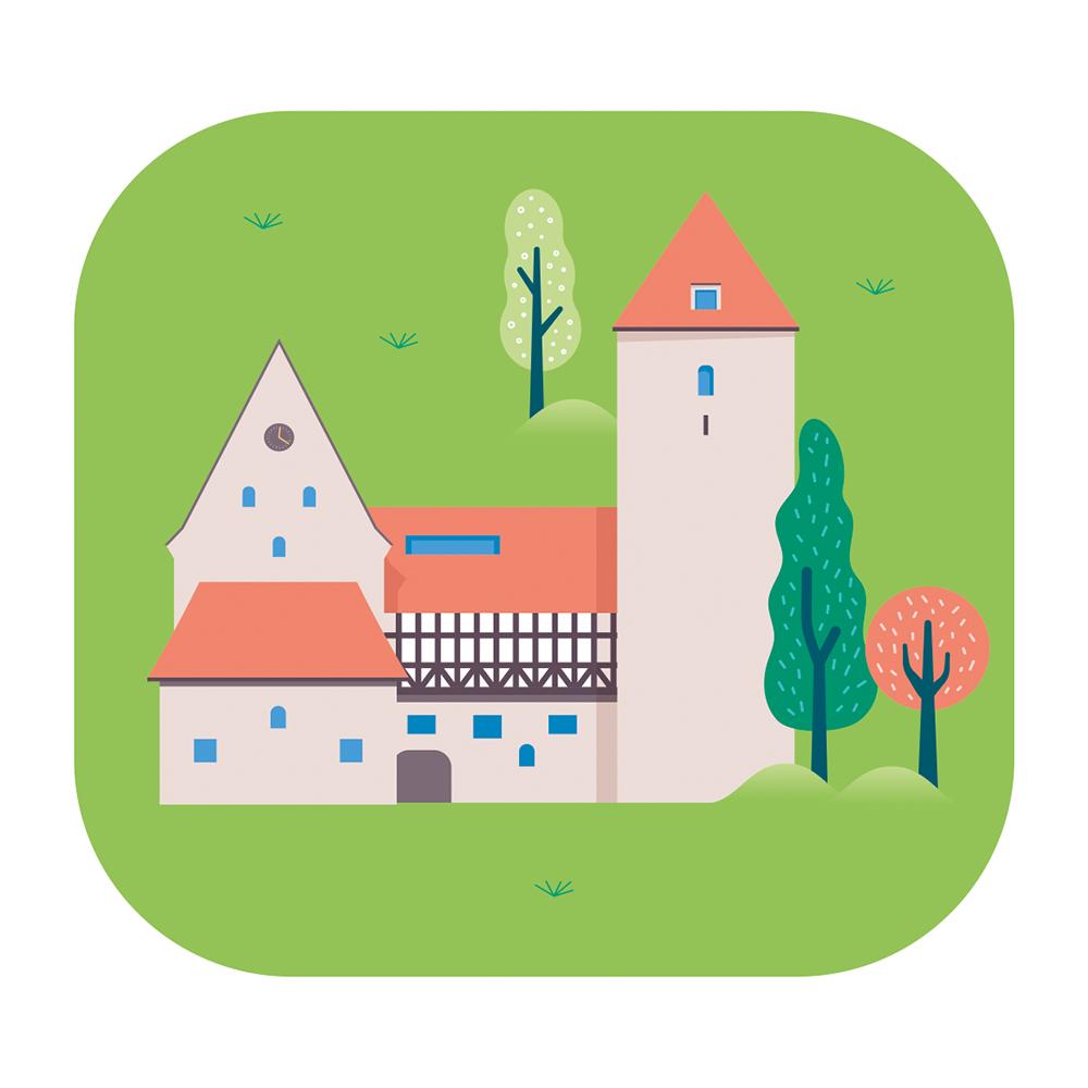 Eine Illustration des Kulturcampus der Domäne Marienburg vor grünem Hintergrund.