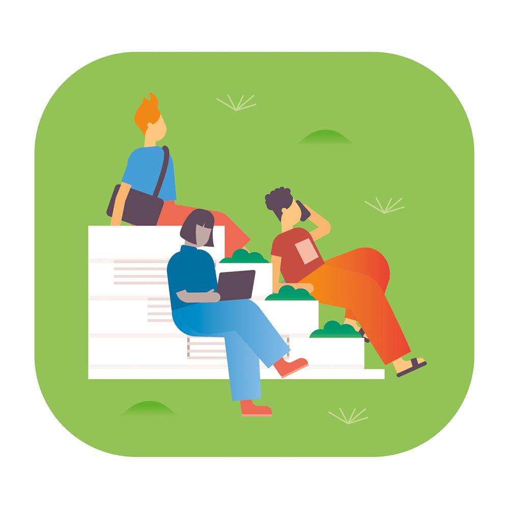 Eine Illustration von drei Studierenden, die auf einer weißen Treppe sitzen, wovon eine Person telefoniert und eine einen Laptop auf dem Schoß hat.