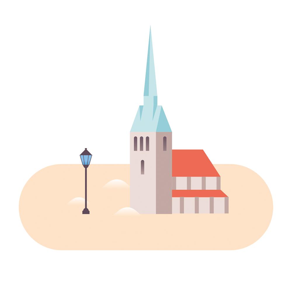 Eine Illustration der beige-roten Andreaskirche mit pastellblauem Dach auf hellbraunem Untergrund.