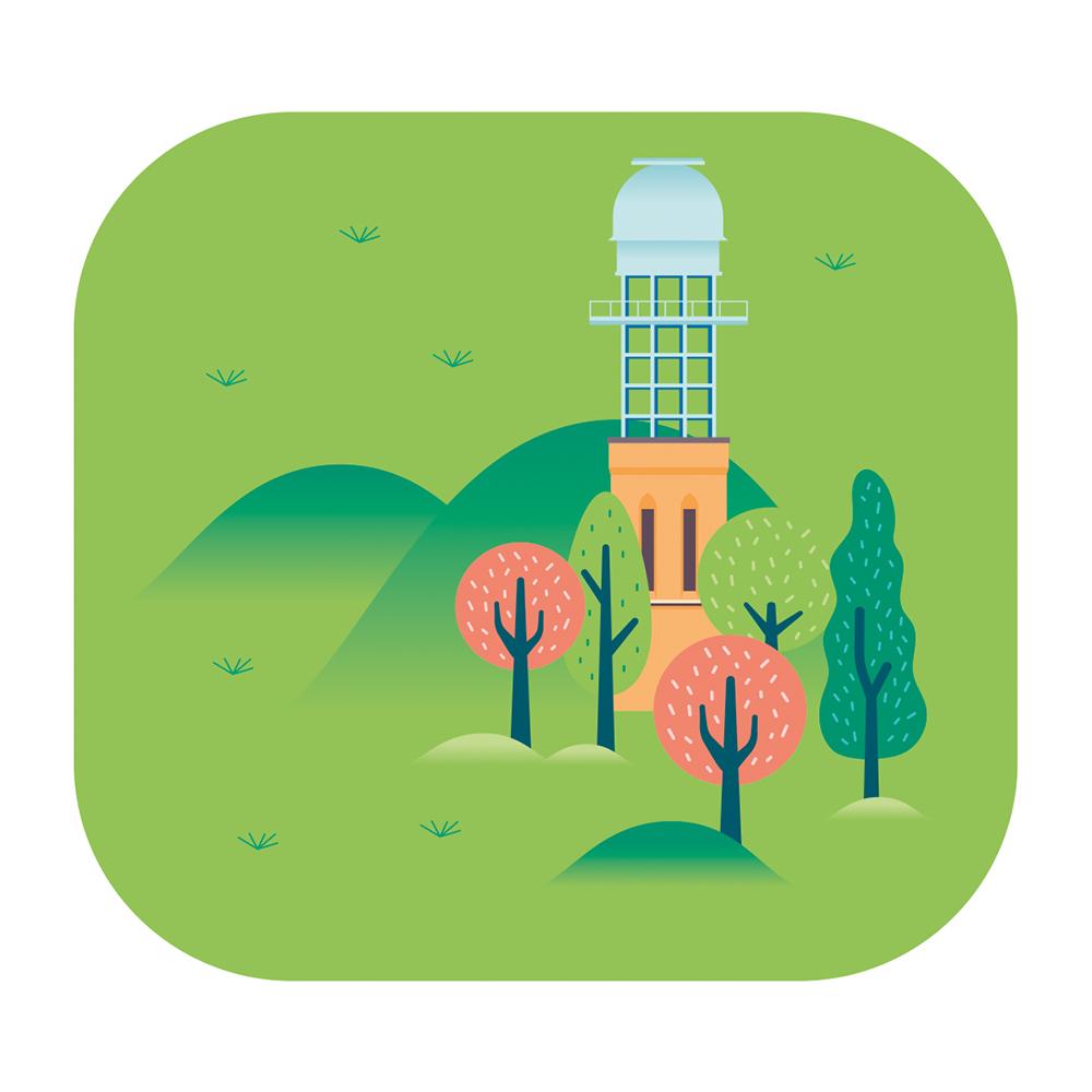 Eine Illustration der Sternwarte Hildesheims im Wald mit roten und grünen Bäumen auf grünem Hintergrund.
