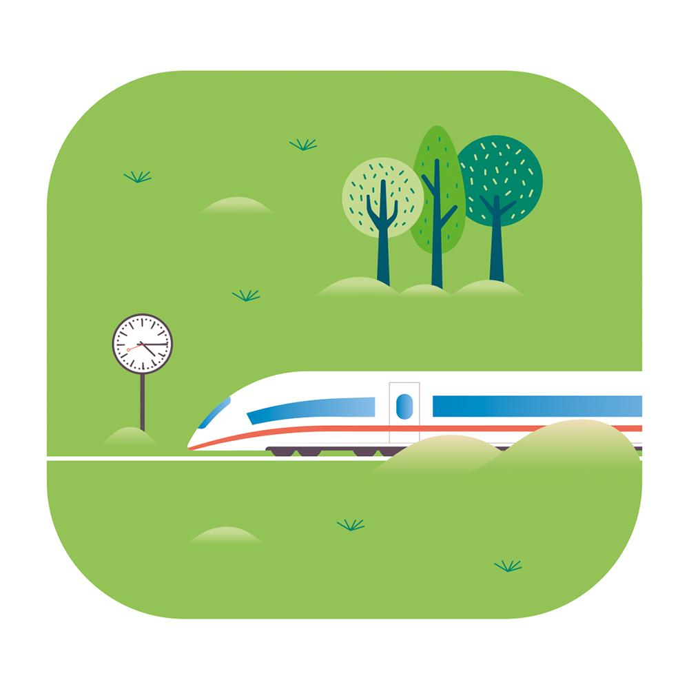 Eine Illustration eines weißen ICEs, der durch das Grüne an einer Uhr vorbeifährt.