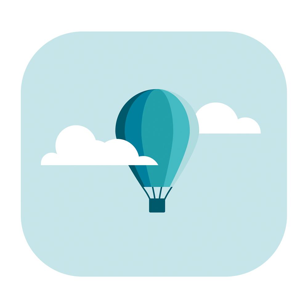 Eine Illustration eines blauen Heißluftballons zwischen zwei Wolken am blauen Himmel.