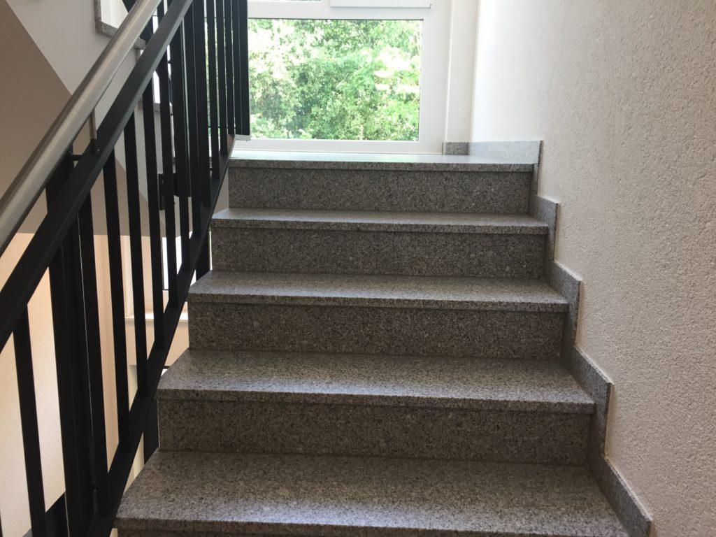 Fotografie einer grauen Treppe nach oben, hinter dem Treppenabsatz ist ein Fenster mit Blick auf eine grüne Hecke.
