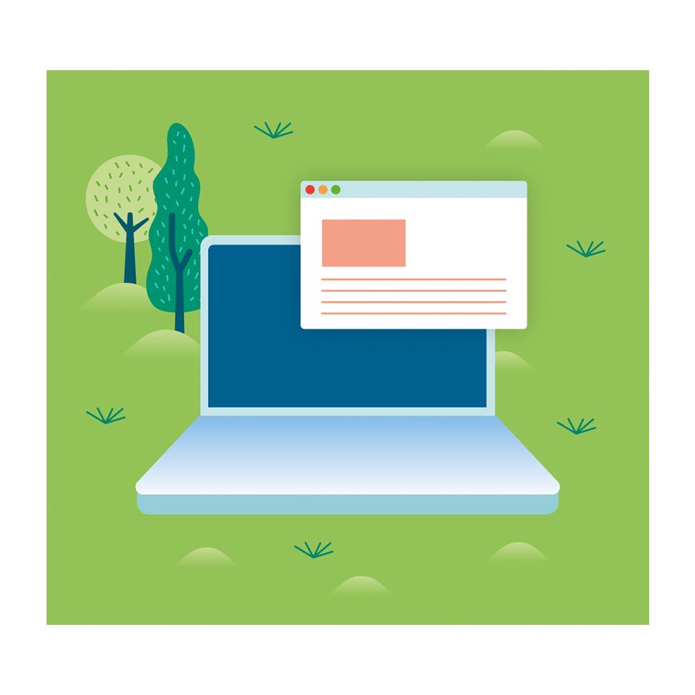 Eine Illustration eines geöffneten Laptops mit geöffnetem Browser auf dem Rasen mit zwei Bäumen im Hintergrund.