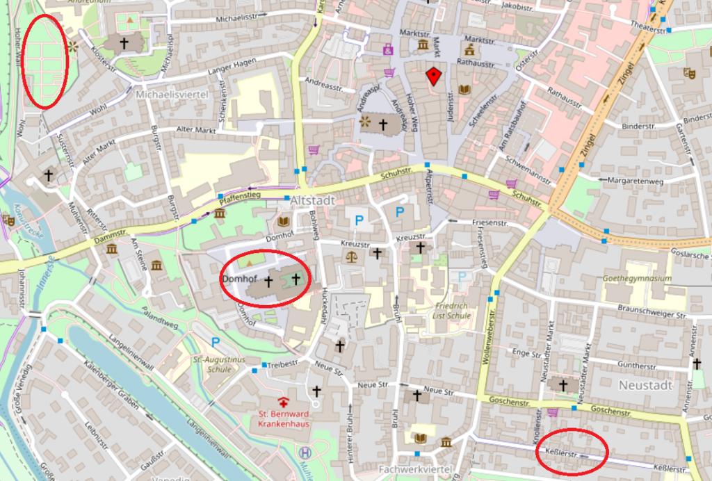 Eine digitale Karte von Hildesheim, bei der die Ausflugsziele Keßlerstraße, Hildesheimer Dom und Magdalenengarten rot eingekreist sind.