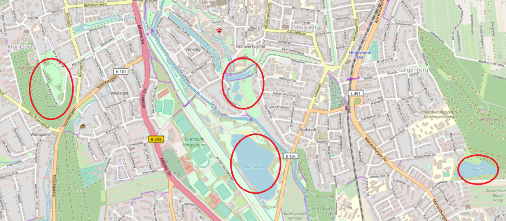 Eine digitale Karte von Hildesheim, bei der die Ausflugsziele Tonkuhle, Hohnsensee, Ehrlicherpark und Welterbeblick am Berghölzchen rot eingekreist sind.