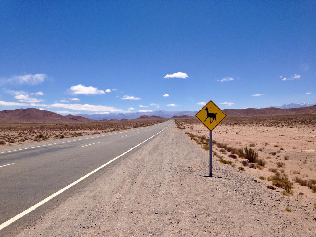Die Weiten der dürren Anden Argentiniens, blauer Himmel mit vereinzelten Wolken. Im Vordergrund ein gelbes Lamaschild.